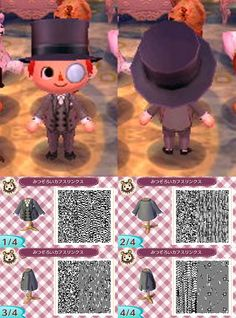 animal crossing qr codes clothes male AC:NL QR code for my boyfriend when I eventually get him animal crossing. I assume he will want to be this fancy. Animals And Pets, Funny Animals, Leaf Man, Motif Acnl, Ac New Leaf, Happy Home Designer, Animal Crossing Qr Codes Clothes, Animal Games, Animal Pictures