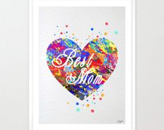 """Mother's day quotes Watercolor Art Print,""""Best Mom"""" print,Heart Wall Art,Kids Room Decor Art,Wall Hanging,Giclee Art,Mothers day Gift, #50"""