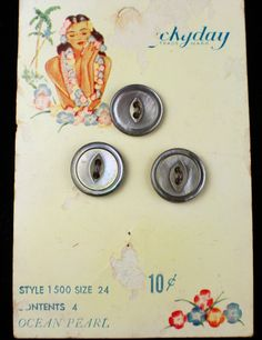 ButtonArtMuseum.com - Vintage Antique Smoky Dark Ocean Pearl Buttons Graphic Color Store Card Hawaiian