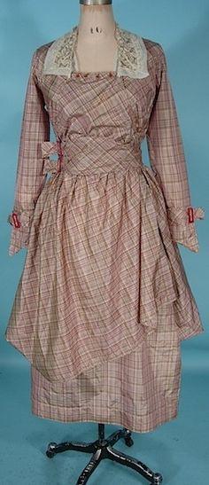 """1915-1917 silk taffeta Dress. Label: """"Maid Marion Dresses"""". Via Antique Dress."""