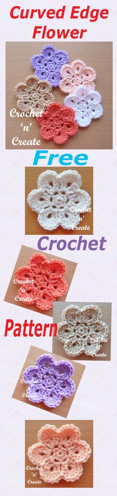 Free crochet pattern for curved edge flower.