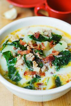 Olive Garden's Zuppa Toscana Soup with Swiss Chard (Copycat Recipe)  use sweet potato to make it paleoish