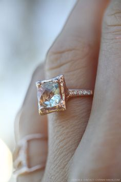 Green amethyst and diamond rose gold ring. Beautiful alternative engagement ring.
