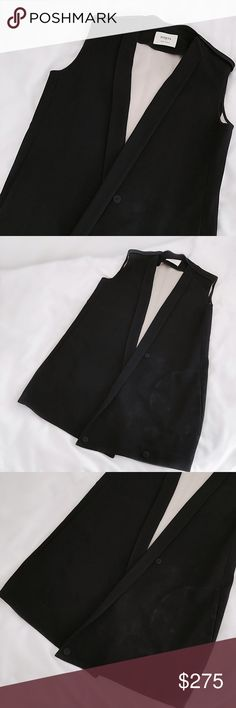 """FINAL FLASH- Ports 1961 Sleeveless Blazer Black and cream heavyweight crepe, structured sleeveless tux-style blazer with an elongated silhouette and shoulder epaulette style details. Thin lapels, snap button front but great worn open as well. Meticulous Italian construction from Ports 1961's luxurious atelier. Great condition w/ light marking/fading. Measures 36""""L, 19.5"""" pit to pit. Fits size M best, also good for S/L. 67% acetate, 25% viscose, 8% cotton. Transforms any outfit for a sleeker…"""