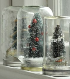 DIY holiday waterless diorama-style snow globes
