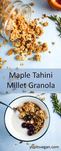 Maple Tahini Millet Granola | yupitsvegan.com. Easy oil-free granola made with maple syrup, tahini, and warming spices.