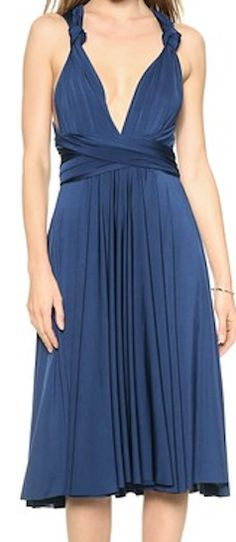 Blue silk bridesmaids dress - can be worn in many ways