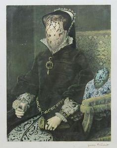 Jacques Prévert: Noblesse, représentant un personnage féminin de la Renaissance dont le visage est un oeuf le collage porte-le titre et le nom de Trauner au verso.