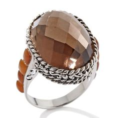 Sally C Treasures Smokey Quartz Brown and Shell Inlay Sterling Silver Ring Brown Rings, Smokey Quartz, Gems Jewelry, Brown Beige, Shopping Mall, Chocolate Brown, Statement Rings, Charlie Brown, Coco