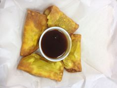 ultimate dumplings filled with cream cheese, chicken and veggies...teriyaki dipping sauce.