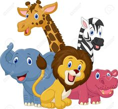 Illustration of Happy safari animal cartoon vector art, clipart and stock vectors. Eagle Cartoon, Farm Cartoon, Cartoon Fish, Happy Cartoon, Cartoon Jungle Animals, Safari Animals, Safari Png, Animal Cutouts, Cartoon Chicken
