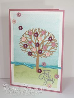 Spring Blossom for you card with watercolour wash using Stampin Up Thoughtful… Creative Class, Paper Crafts, Diy Crafts, Spring Blossom, Spring Colors, Artsy Fartsy, Your Cards, Stampin Up, Greeting Cards