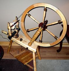 Saxony Style Spinning Wheel by qsqualitywoodwork on Etsy