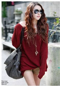 Red Oversized Korean Fashion Sweater With Trendy Bat Sleeves