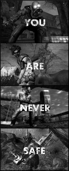 No matter where the game takes you, you're never really safe. Fallout 4 Automatron, Fallout Quotes, Fallout Posters, Fallout Funny, Fallout Fan Art, Fallout New Vegas, Fallout Wallpaper, Nuclear Winter, Apocalypse Art