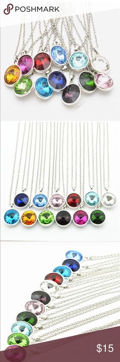 Dark green silver plated necklace This necklace is made from Alloy - silver plated - Birthstone . The length of the necklace is 17.72 inch and diameter is 0.79 inch . October Love Jewelry Necklaces