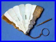 1850's French fan carnet de bal danse note book.  Sterling Silver