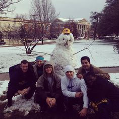 Students built an MC snowman on the Quad!  Photo by misscollege