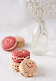 Spiced Buttercream Macarons - love the hearts!!