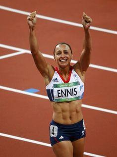 Jessica Ennis celebrates winning her women's heptathlon 800m.