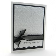 Wedding Shower Card Handmade White Damask by EmbellishbyJackie