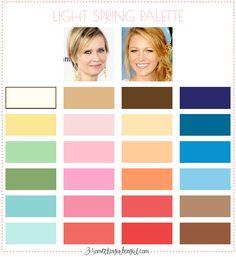 Best colors for Light Spring seasonal color women; Light Spring color palette