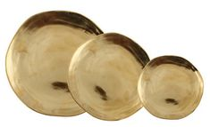 Imperfect Plate - / Set of 3 Gold by & klevering - Design furniture and decoration with Made in Design