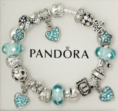 Authentic Pandora Sterling Silver Bracelet Aquamarine Heart Love European Charms in Charms & Charm Bracelets | eBay
