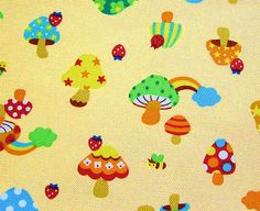 Cotton Canvas Fabric - Mushrooms on Camel - Half Yard.