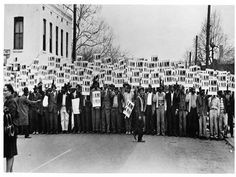 Ernest Withers, I Am A Man: Sanitation workers assemble in front of Clayborn Temple for a solidarity march, Memphis, Tennessee, 1968.