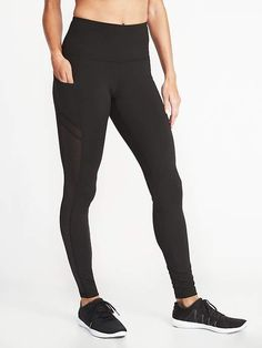 46d233317eeace High-Rise Side-Pocket Mesh-Trim Compression Leggings for Women