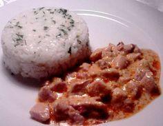 Abbahagyhatatlan csirkeragu Bacon, Grains, Rice, Chicken, Meat, Breakfast, Recipes, Food, Recipies