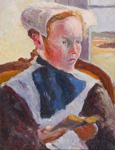 """Sydney Lough THOMPSON (1877-1973) (attribué à) """"Bretonne au livre"""""""