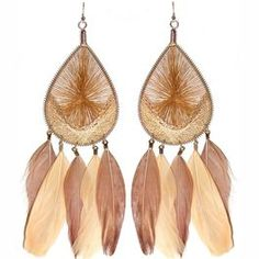 "7 3/4"" Long Feather Earrings with String Woven Teardrop Top in Beige with Brown Finish."