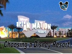 Help in Choosing a Disney Resort:       Value, Moderate, Deluxe, Villas, Room Features, Dining, Transportation, and Amenities.  From themouseforless.com