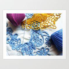 Romanian Point Lace Blue Lace Photography  Art Print by BaleaRaitzART - $38.48 Point Lace, Lace Design, Blue Lace, Art Photography, Crochet Necklace, Ink, Art Prints, Fashion, Art Impressions