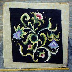 Floral stoel kussensloop PANEL boeket Hand geborduurd, handgemaakt Cross Stich 12 x 14 roze achtergrond