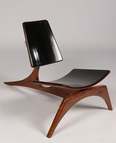 MCM Low Slung Walnut ebonized chair...
