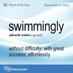 Today's Word of the Day is swimmingly. Learn its definition, pronunciation, etymology and more. Join over 19 million fans who boost their vocabulary every day.