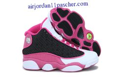 pretty nice 1ecbe 98339 Femmes Air Jordan 13 Retro Rose Noir Blanc Chaussures Retro Shoes, Womens  Jordans, Air
