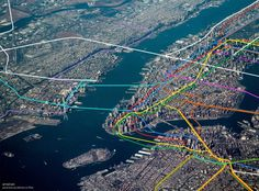 See The Subway Lines Visualized Over Aerial Photos Of NYC