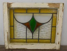 """OLD ENGLISH LEADED STAINED GLASS WINDOW Abstract Design 20.5"""" x 16.75"""""""
