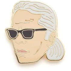 Georgia Perry Karl Lagerfeld Pin (48 BRL) ❤ liked on Polyvore featuring jewelry, brooches, pin brooch, white jewelry and pin jewelry