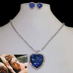 Love Titanic Heart of Ocean Necklace Earring Set Sapphire Blue Austrian Crystal