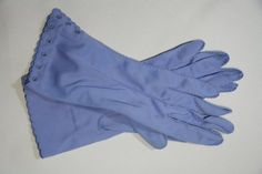 Vintage Dress Gloves Periwinkle Eyelet Embroidered Cuff by suvarna, $20.00