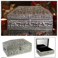 NOVICA Handmade Floral Brass Jewelry Box ($73) ❤ liked on Polyvore featuring home, home decor, jewelry storage, clothing & accessories, jewelry, jewelry boxes, metallic, metalwork, novica home decor and brass jewelry box