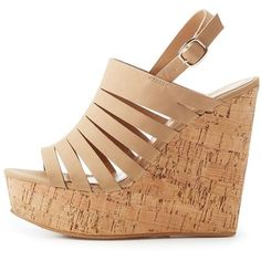 8c435ee035dc Bamboo Caged Cork Wedge Sandals ( 29) ❤ liked on Polyvore featuring shoes