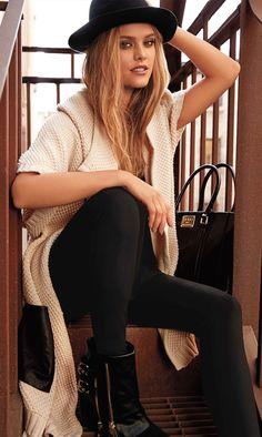 LOOKandLOVEwithLOLO: Bebe August CATALOG 2014 ~~ Faux Leather Pocket Cardigan & Black Corset Leggings
