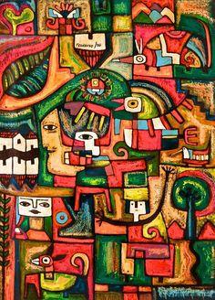 'Eternal Happiness' by Fernando Llort (El Salvador) Arte Latina, Tropical Animals, Iphone Background Wallpaper, Mexican Art, Creative Words, Wood Art, Original Paintings, Folk, Collage