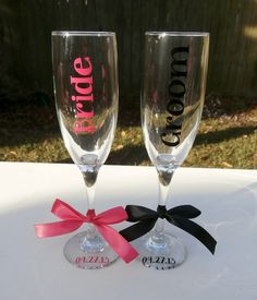 2 Wedding Glasses Bride and Groom Champagne Flutes by SimplySouthernCharms on Etsy, $24.00